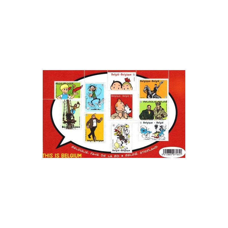 Belgique Pays de la BD - feuillet de 10 timbres BD