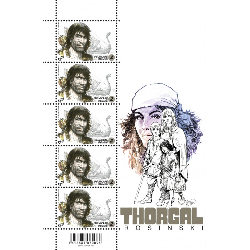 Thorgal : feuillet de 5 timbres