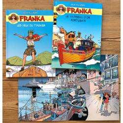 Franka : les 2 albums et l'illustration intérieure du cartonnage